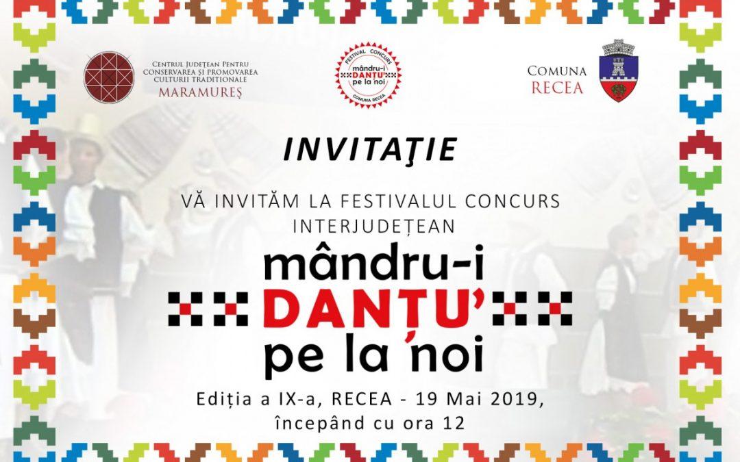 """Regulamentul Festivalului Concurs """"MÂNDRU-I DANȚU PE LA NOI"""" ed. IX-a, Recea, 19 mai 2019"""