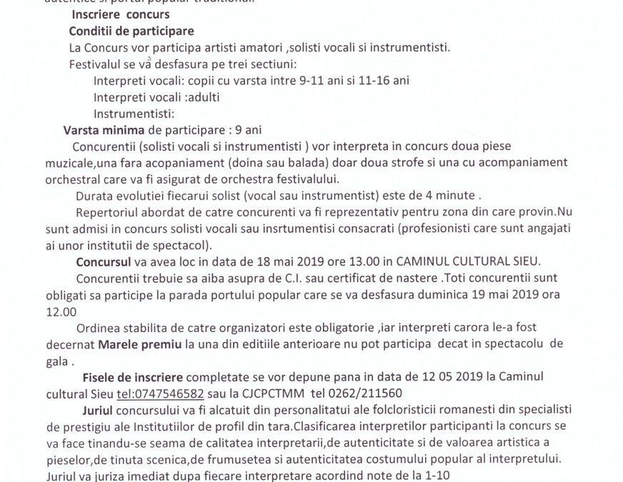 """Regulamentul Festivalului Concurs """"FLOARE MÂNDRĂ DE PE IZA"""" – Șieu, 18-19 mai 2019"""